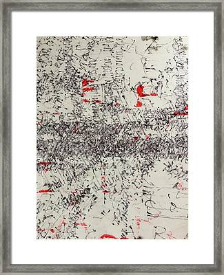 Framed Print featuring the painting Black And Red 2 by Nancy Merkle