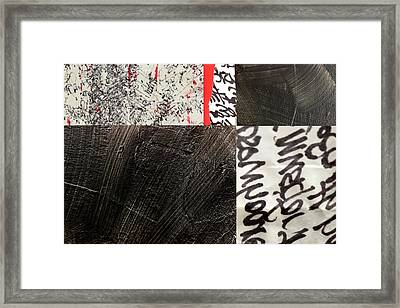 Framed Print featuring the painting Black And Red 3 by Nancy Merkle