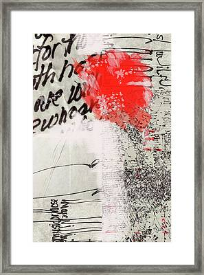Framed Print featuring the painting Black And Red 4 by Nancy Merkle