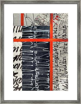 Framed Print featuring the painting Black And Red 7 by Nancy Merkle