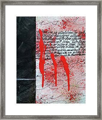 Framed Print featuring the painting Black And Red 8 by Nancy Merkle