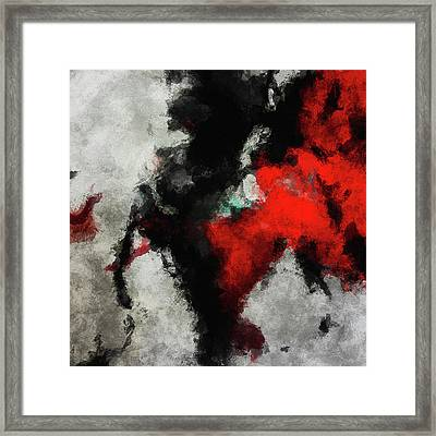Black And Red Abstract Minimalist Painting Framed Print
