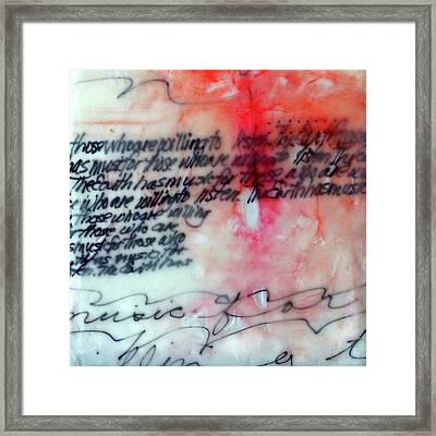 Framed Print featuring the painting Black And Red Encaustic 1 by Nancy Merkle