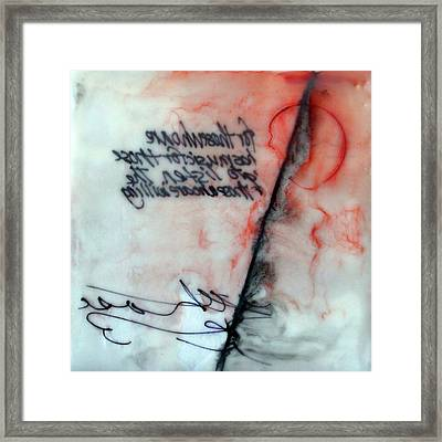 Framed Print featuring the painting Black And Red Encaustic 2 by Nancy Merkle