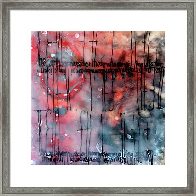Framed Print featuring the painting Black And Red Encaustic 4 by Nancy Merkle