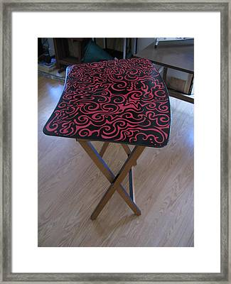 Black And Red Tv Table Framed Print by Mandy Shupp