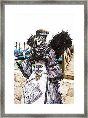 Black And Silver Angel 2015 Carnevale Di Venezia Italia Framed Print by Sally Rockefeller
