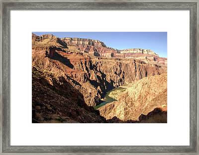 Black And Silver Bridges Spanning The Colorado River  Grand Canyon National Park Framed Print