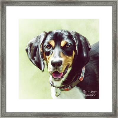 Framed Print featuring the digital art Black And Tan by Lois Bryan