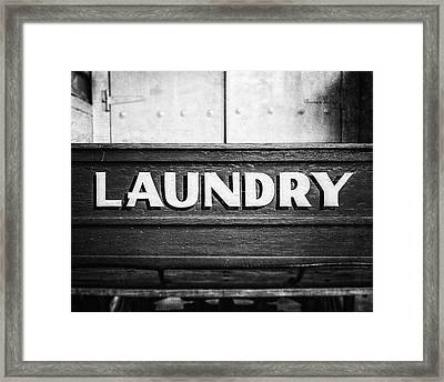 Black And White 1800s Laundry Wagon Photograph Framed Print
