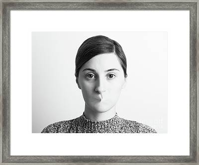 Black And White Abstract Woman Portrait Of Freedom Of Speech Concept Framed Print by Radu Bercan