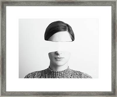Black And White Abstract Woman Portrait Of Identity Theft Concept Framed Print by Radu Bercan