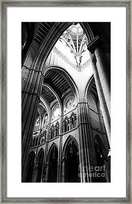 Black And White Almudena Cathedral Interior In Madrid Framed Print