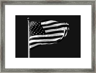Black And White American Flag Framed Print by Steven Michael