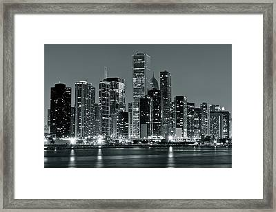 Framed Print featuring the photograph Black And White And Grey Chicago Night by Frozen in Time Fine Art Photography