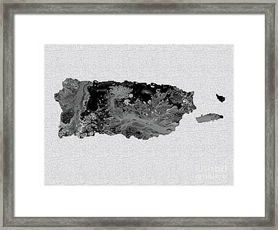 Black And White Art Puerto Rico Map Framed Print by Saribelle Rodriguez