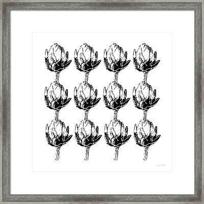 Black And White Artichokes- Art By Linda Woods Framed Print by Linda Woods