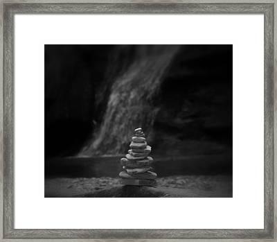Black And White Balanced Stones Framed Print