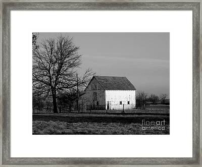 Black And White Barn Ll Framed Print by Michelle Hastings