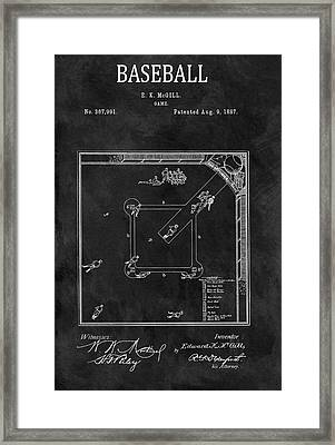 Black And White Baseball Game Patent Framed Print by Dan Sproul