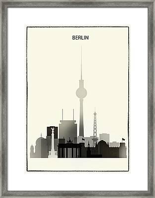 Black And White Berlin Skyline Framed Print by Dim Dom