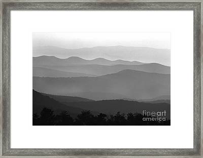 Black And White Blue Ridge Mountains Framed Print
