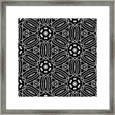 Black And White Boho Pattern 2- Art By Linda Woods Framed Print