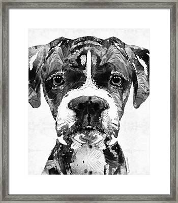 Black And White Boxer Dog Art By Sharon Cummings  Framed Print