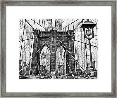 Black And White Brooklyn Bridge Framed Print by Allan Einhorn