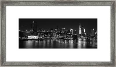 Black And White Brooklyn Bridge Framed Print