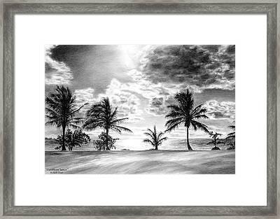 Black And White Caribbean Sunset Framed Print