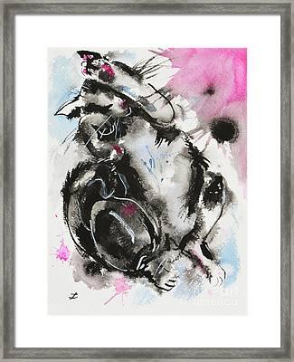 Framed Print featuring the painting Black And White Cat Sleeping by Zaira Dzhaubaeva