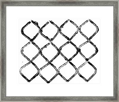 Black And White Chain Link Fence Framed Print by Gillham Studios