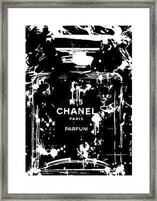 Black And White Chanel Splatter Framed Print by Dan Sproul