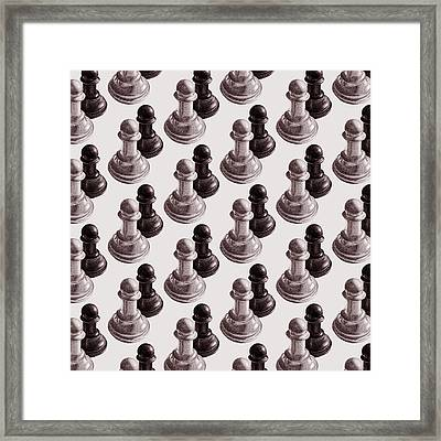 Black And White Chess Pawns Pattern Framed Print