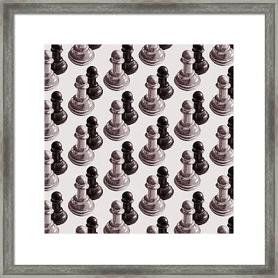 Black And White Chess Pawns Pattern Framed Print by Boriana Giormova