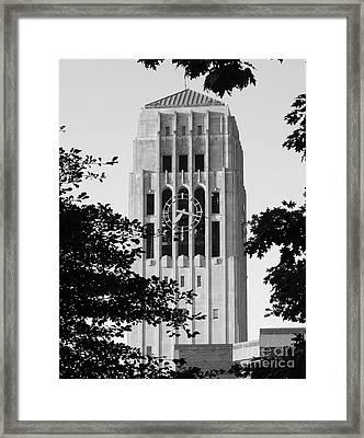 Black And White Clock Tower Framed Print