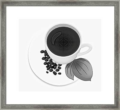 Black And White Coffee Cup Framed Print