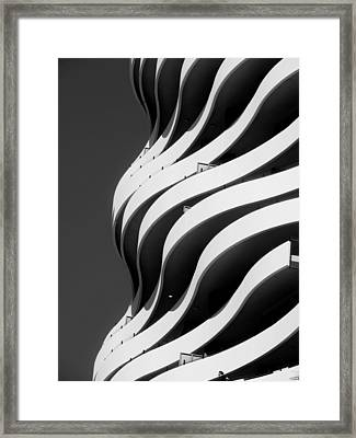 Black And White Concrete Waves Framed Print