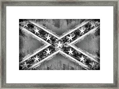 Black And White Confederate Flag Framed Print