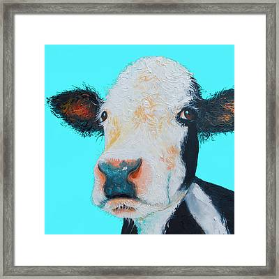 Black And White Cow On Blue Background Framed Print by Jan Matson