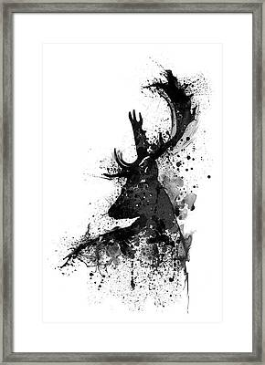 Black And White Deer Head Watercolor Silhouette Framed Print