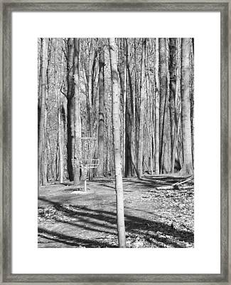 Black And White Disc Golf Basket Framed Print by Phil Perkins