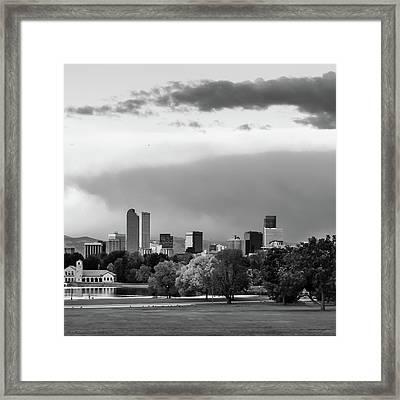 Black And White Downtown Denver Skyline Under Clouds 1x1 Framed Print