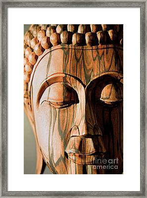 Black And White Ebony Buddha Head Framed Print by Julia Hiebaum