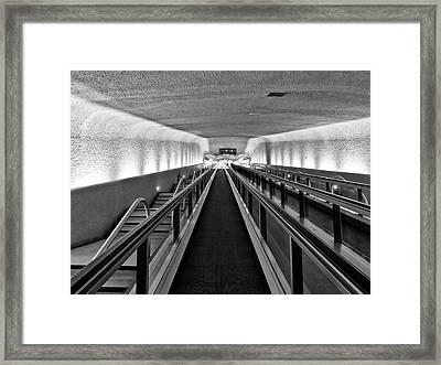Black And White Escalator To No Where Framed Print