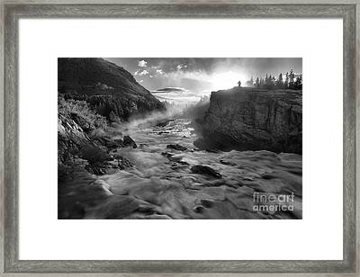 Black And White Fire Over Swiftcurrent Framed Print