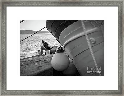 Black And White - Fisherman Cleaning Fish On Docks Of Kastel Gomilica, Split Croatia Framed Print