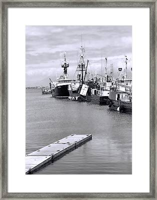 Black And White Fishing Boats On The Dock Framed Print