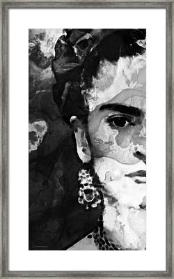 Black And White Frida Kahlo By Sharon Cummings Framed Print by Sharon Cummings